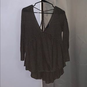 Charcoal and Purple Stripped Blouse